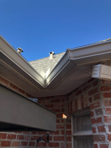 close up photo of house with seamless gutters